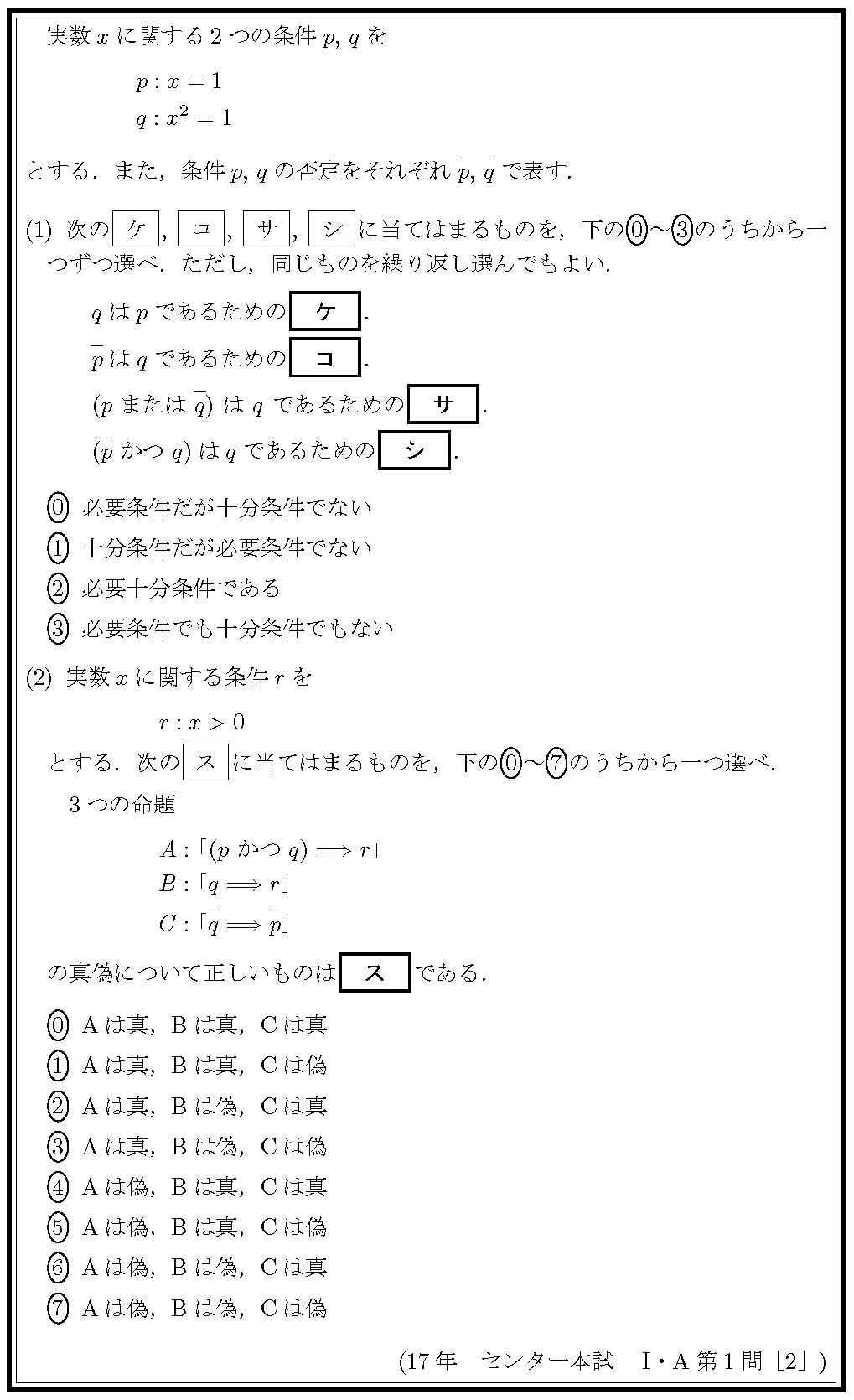 17センタ本試IA・1-2問題